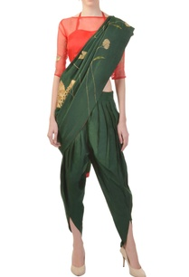 forest-green-embroidered-dhoti-sari