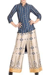 denim-blue-high-low-kurta-printed-palazzo-pants