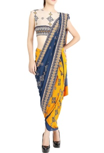 off-white-cropped-top-mustard-printed-sari