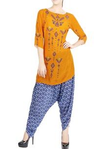 orange-printed-kurta-cobalt-blue-patiala