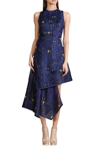 indigo-asymmetric-midi-dress