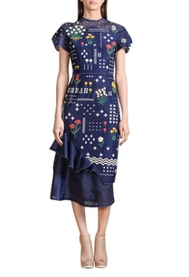 indigo-applique-work-midi-dress
