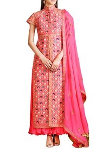 coral-pink-embroidered-jacket-anarkali-set
