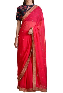 navy-blue-floral-blouse-with-pink-georgette-sari