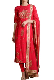 raspberry-pink-sequined-embroidered-kurta-set