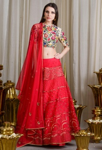 red-beige-embroidered-lehenga-set