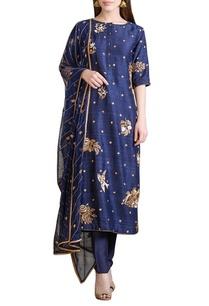 indigo-hand-embroidered-kurta-set