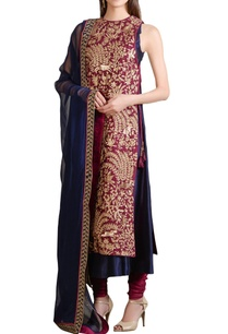 wine-navy-blue-thread-embroidered-kurta-and-churidar-set
