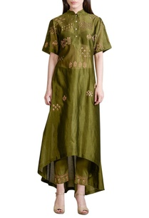 olive-green-embroidered-kurta