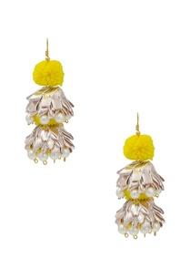 yellow-pom-pom-drop-earrings