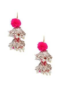 silver-hot-pink-pom-pom-drop-earrings