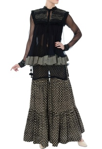 black-organza-kurta-with-kedia-jacket-sharara-pants