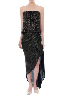black-gold-cutwork-tube-top-asymmetric-skirt