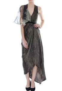black-asymmetric-draped-dhoti-dress