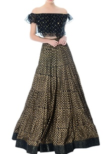 black-embellished-crop-top-block-print-lehenga
