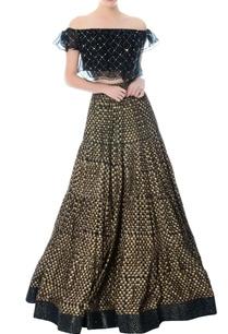 black-embellished-crop-top-block-print-lehenga