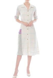 white-knee-length-shirt-dress