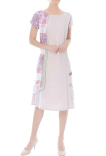 ivory-a-line-dress-with-printed-double-layer-on-the-side