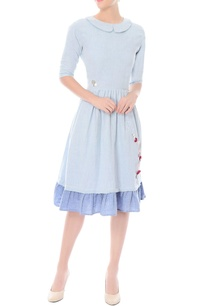 light-blue-a-line-dress-with-floral-patchwork-detailing