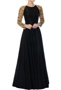 black-silk-anarkali-with-embellished-sleeves