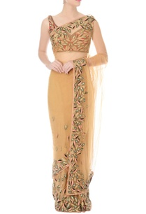 nude-hand-embroidered-sari-with-rust-blouse