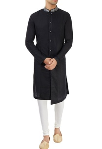 black-sherwani-with-embroidered-collar