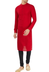 red-kurta-with-stand-collar