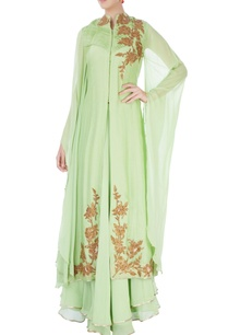 pista-green-front-slit-kurta-skirt