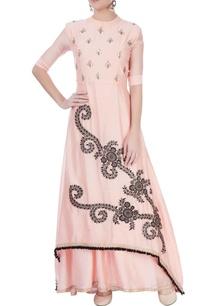 pink-embroidered-kurta-lehenga-set