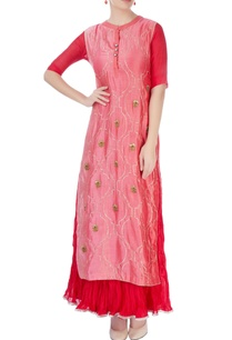 red-maxi-dress-with-salmon-pink-kurta