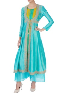 yellow-blue-printed-kurta-with-jacket