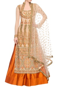 beige-embroidered-kurta-lehenga-set