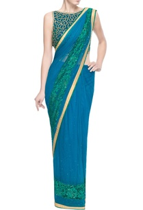 blue-green-embellished-sari