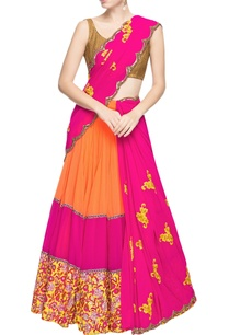 magenta-light-orange-lehenga-sari-with-embroidery