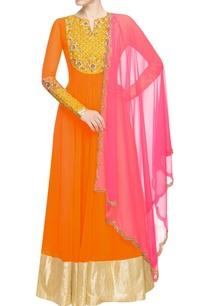 light-orange-embellished-anarkali-with-pink-dupatta