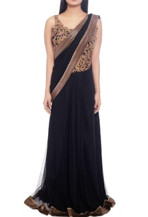 black-sari-with-gold-embellishment