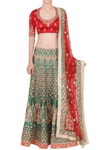 red-emerald-green-embellished-lehenga-set