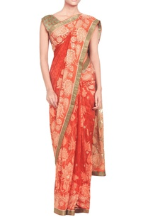 rust-orange-embellished-sari