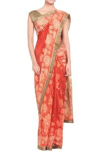 rust-orange-embellished-sari