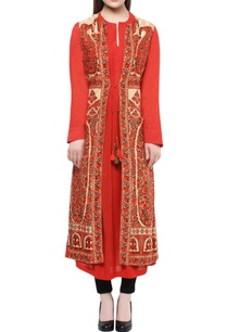 red-long-kurti-with-jacket