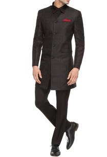 black-v-neck-sherwani