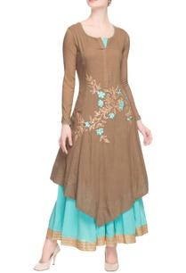 brown-light-blue-embroidered-skirt-set