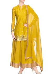 canary-yellow-kurta-lehenga-with-mirror-work