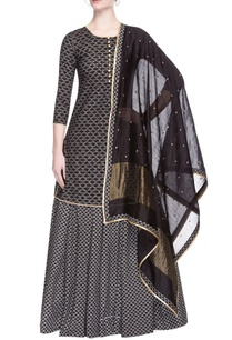 black-printed-kurta-set