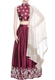 wine-lehenga-set-with-embroidery