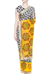 white-sari-with-black-pacman-prints