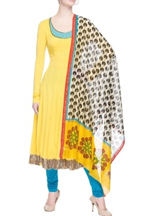 yellow-anarkali-set-with-printed-dupatta