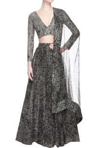grey-pixel-printed-lehenga-set