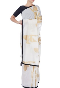 white-gold-printed-sari