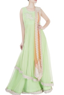 light-green-orange-applique-lehenga-set